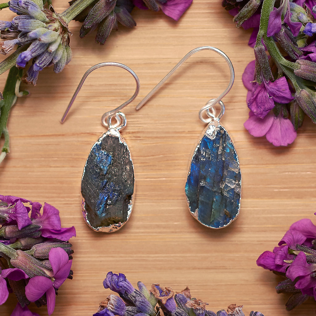 Silver Labradorite Teardrop Earrings