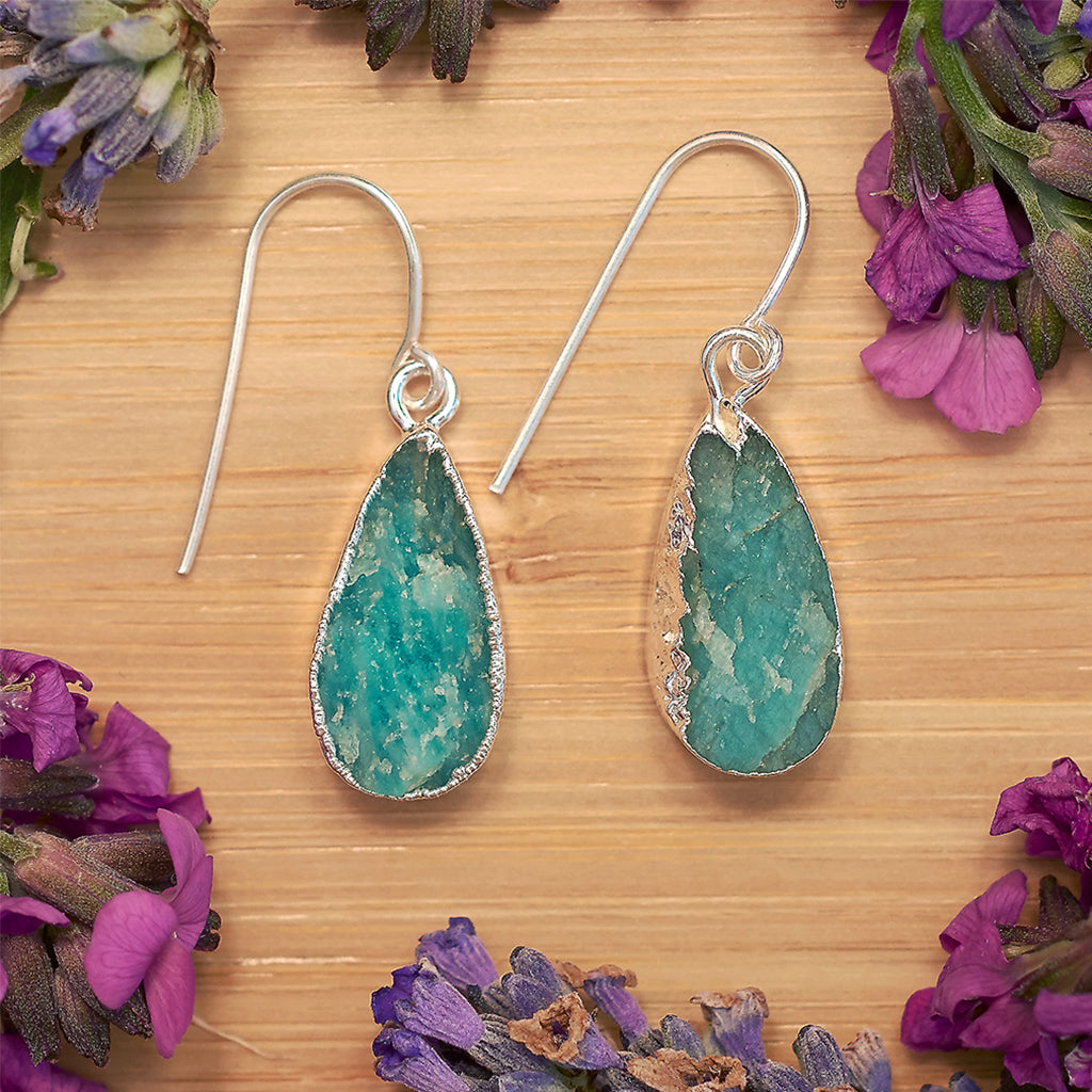 Silver Amazonite Teardrop Earrings