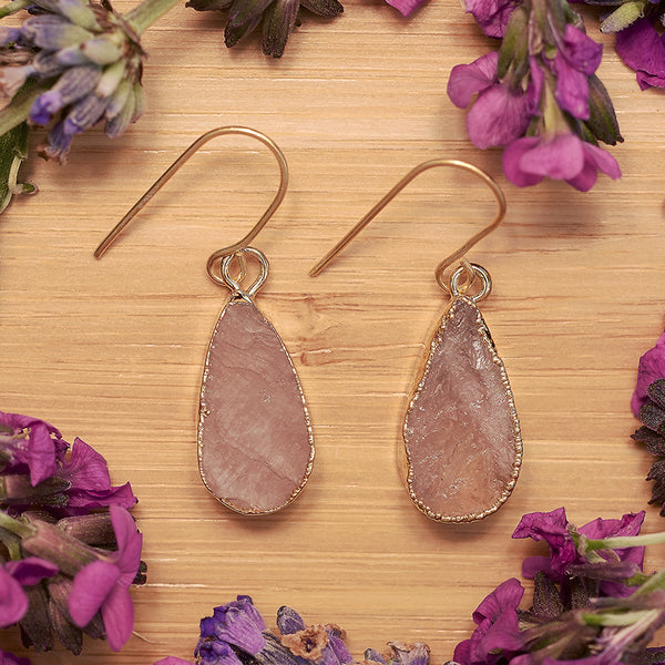 Gold Rose Quartz Teardrop Earrings