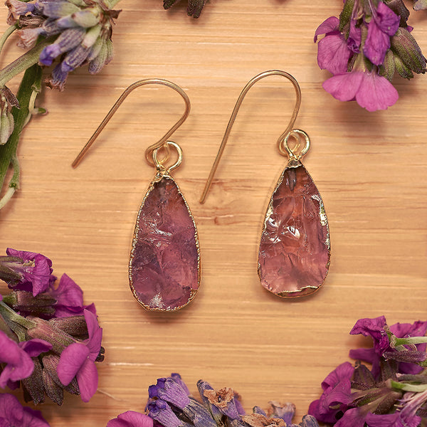 Gold Amethyst Teardrop Earrings