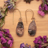 Gold Tourmalinated Quartz Teardrop Earrings