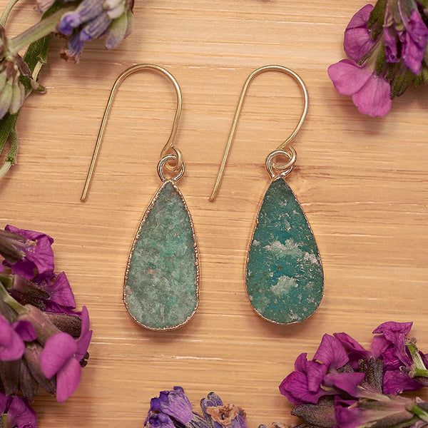 Gold Amazonite Teardrop Earrings