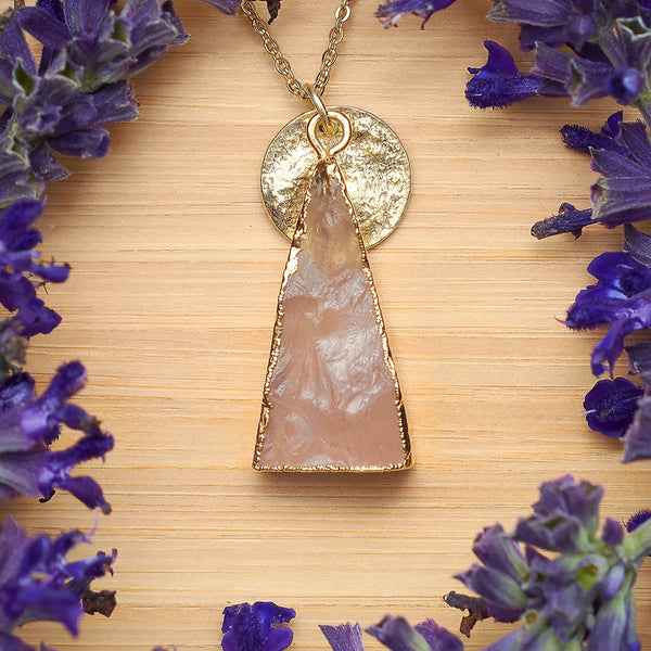 Gold Rose Quartz Unity Pendant