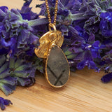 Gold Tourmalinated Quartz Teardrop Pendant