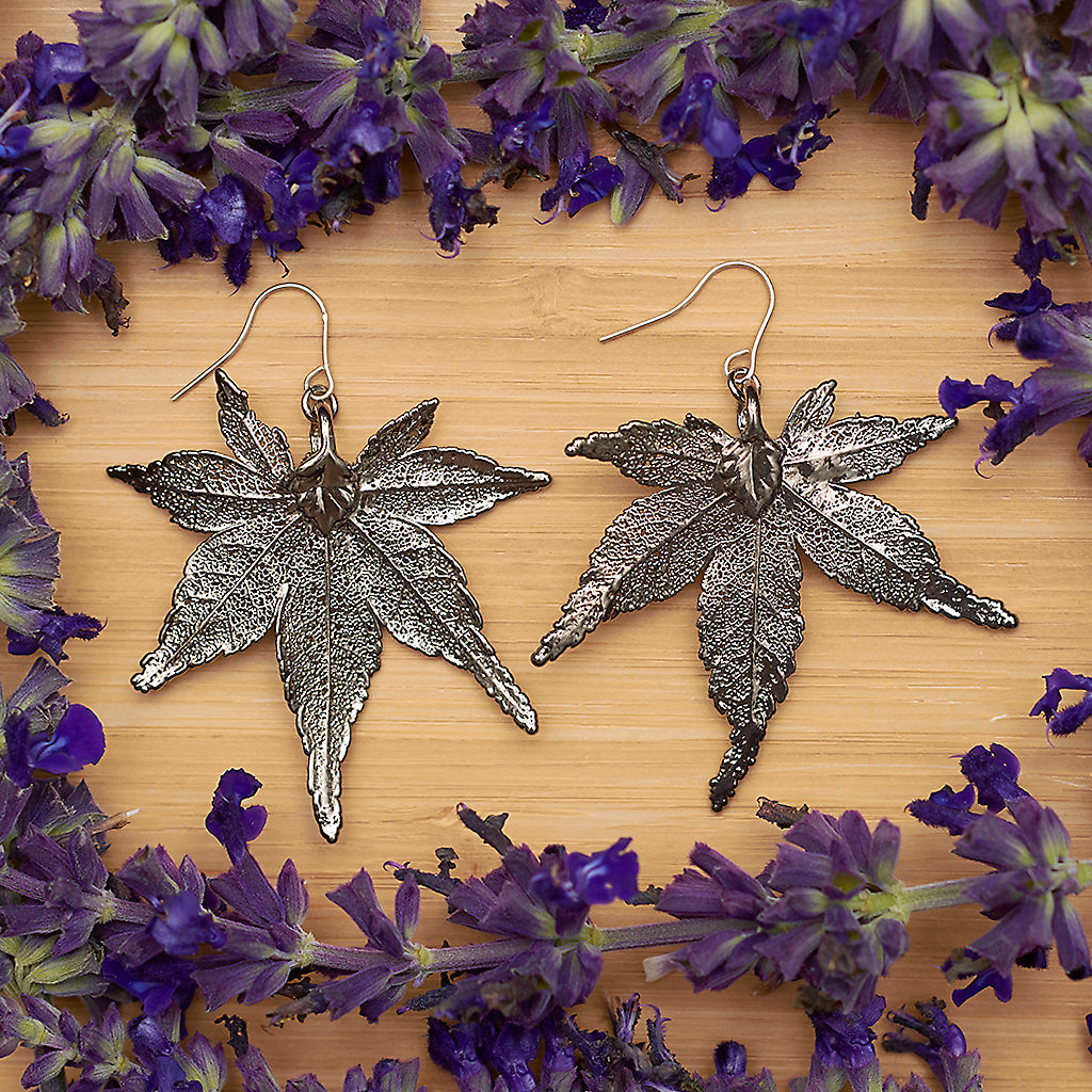 Japanese Maple Leaf Platinum Earrings