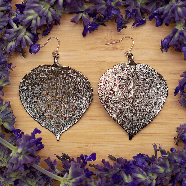 Aspen Platinum Leaf Earrings