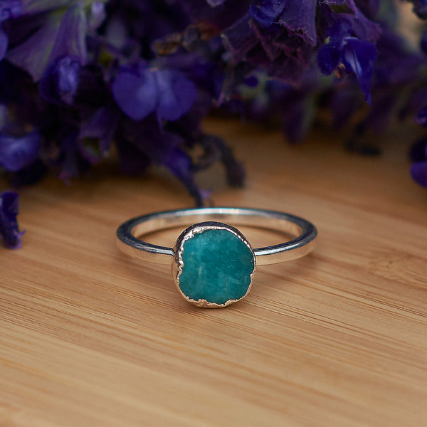 Silver Amazonite Infinity Stacking Ring
