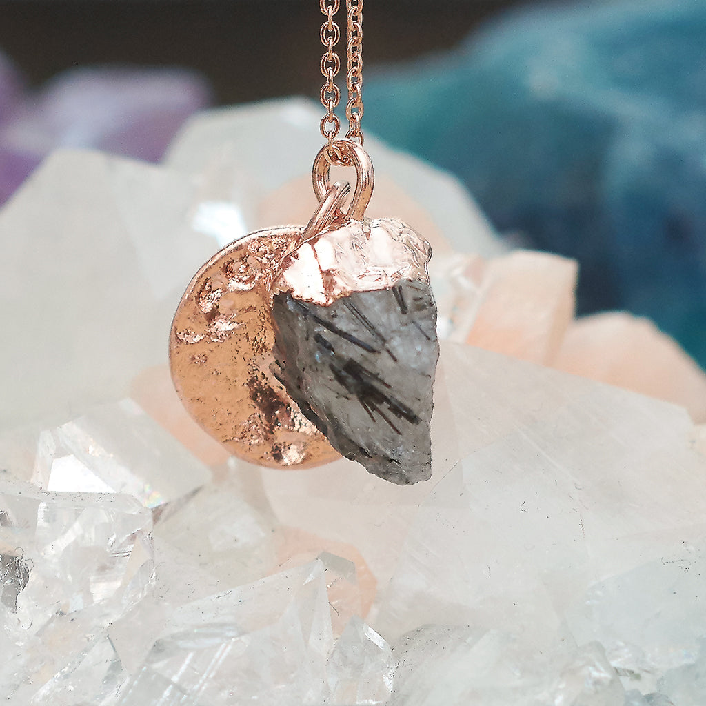 Rose Gold Tourmalinated Quartz Raw Pendant