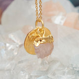 Gold Rose Quartz Raw Pendant