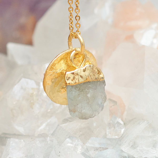 Gold Aquamarine Raw Pendant