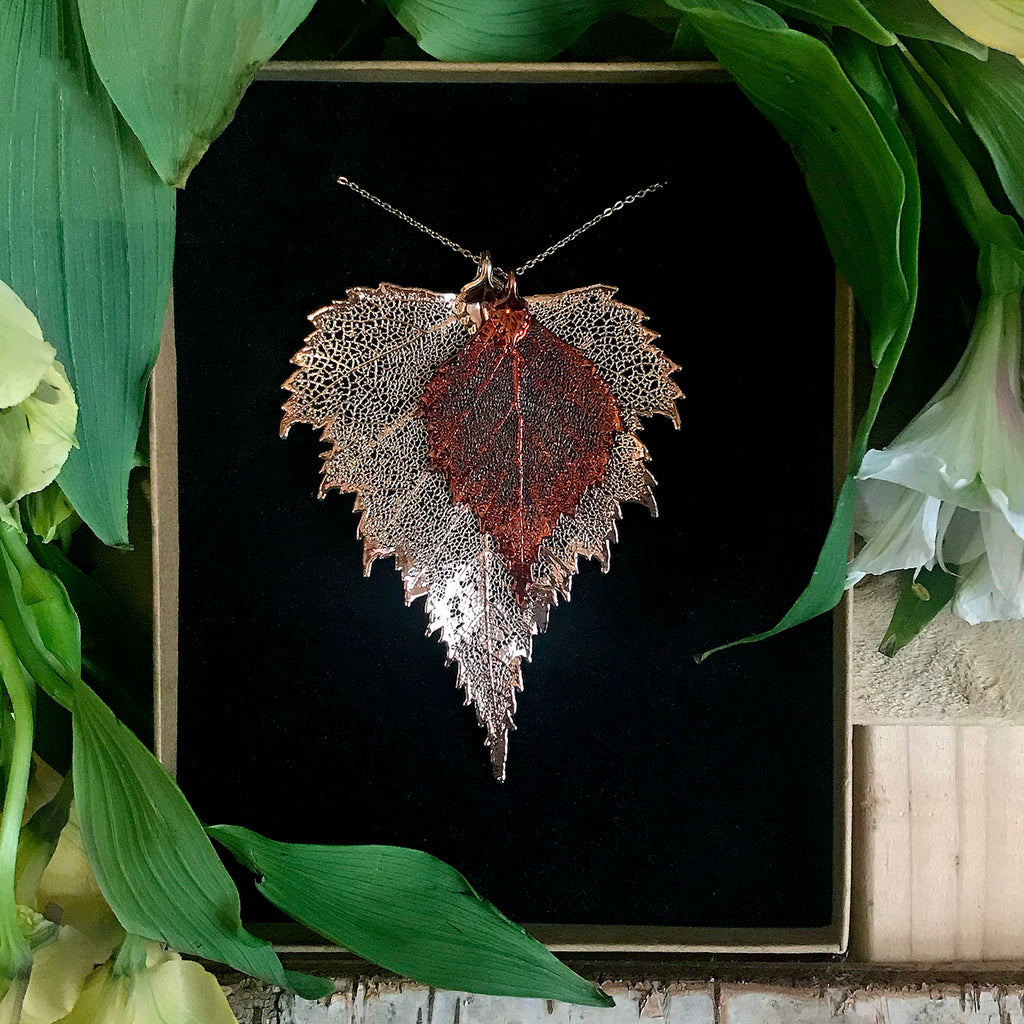 Birch Autumn Copper and Rose Gold Plate Leaf Duo
