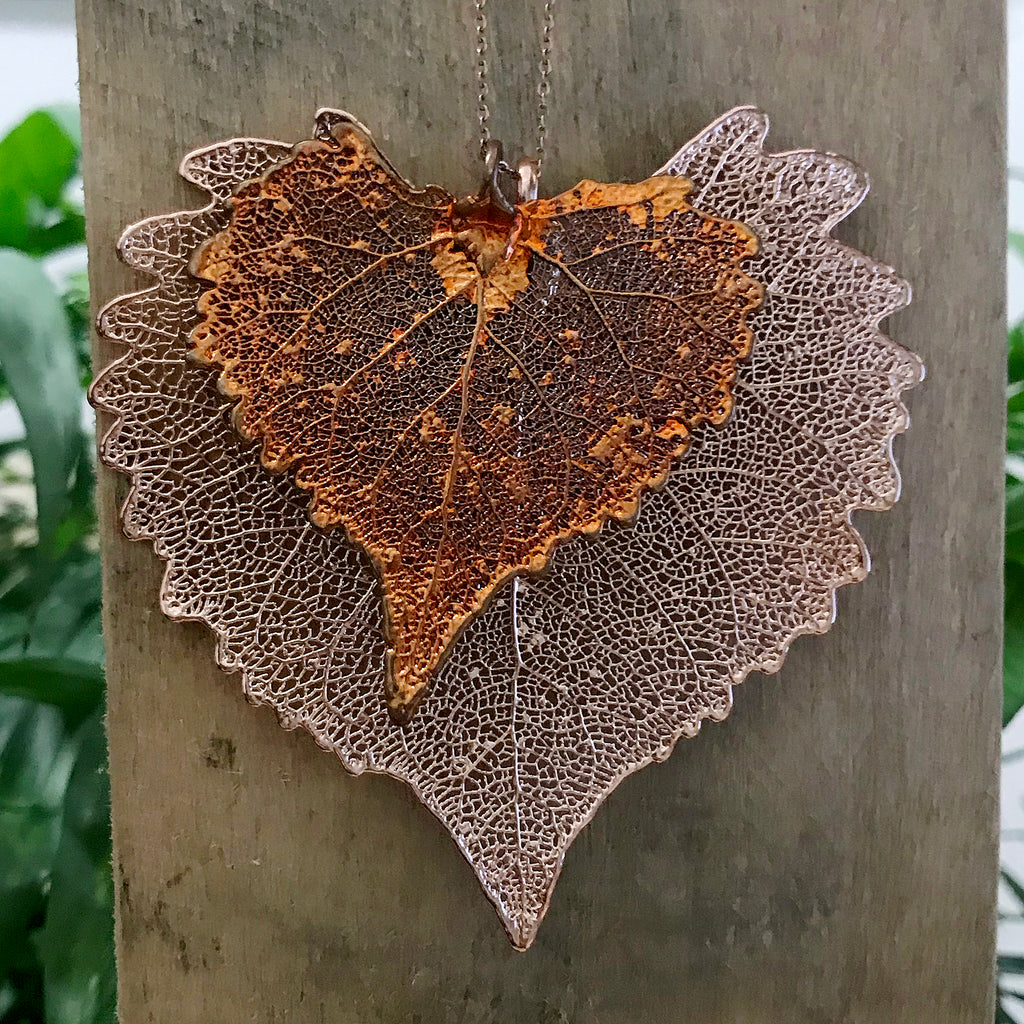 Cottonwood Autumn Copper and Rose Gold Plate Leaf Duo