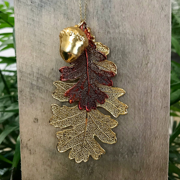 Acorn and Oak Gold Plate and Autumn Copper Leaf Trio