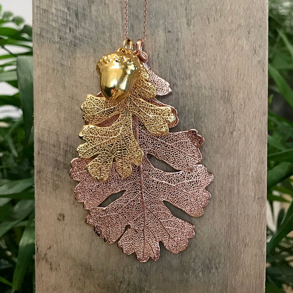 Acorn and Oak Gold Plate and Rose Gold Plate Leaf Trio