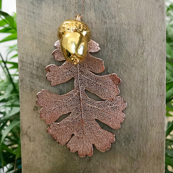 Acorn Gold Plate and Oak Rose Gold Plate Leaf Duo