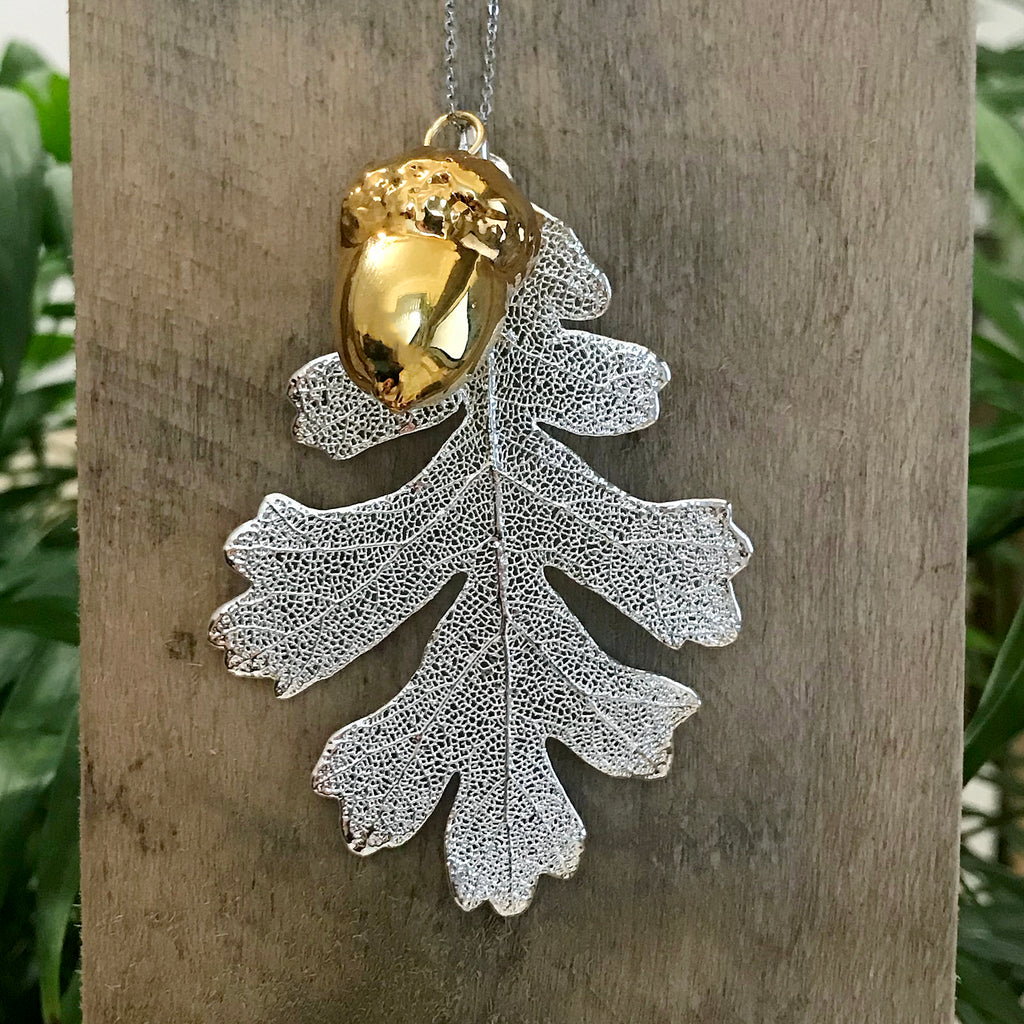 Acorn Gold Plate and Oak Silver Plate Leaf Duo