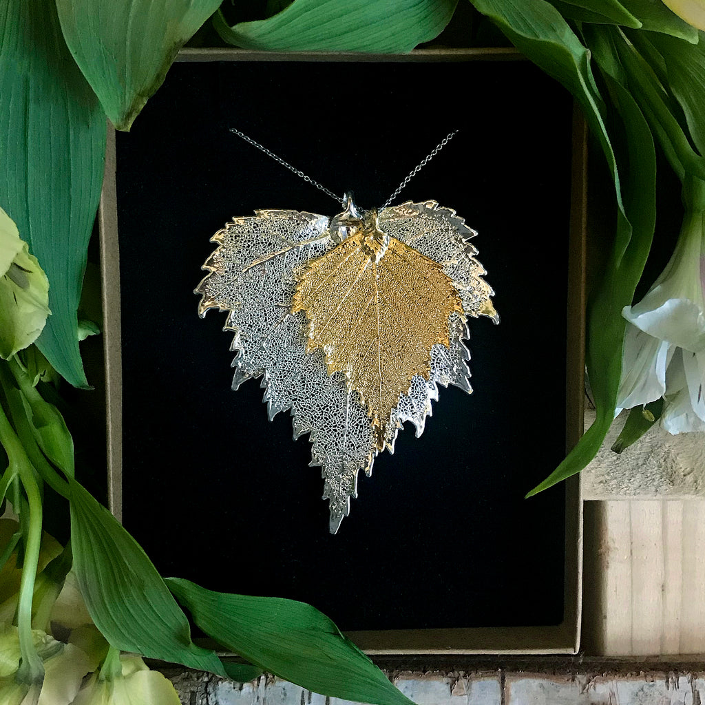 Birch Gold Plate and Silver Plate Leaf Duo