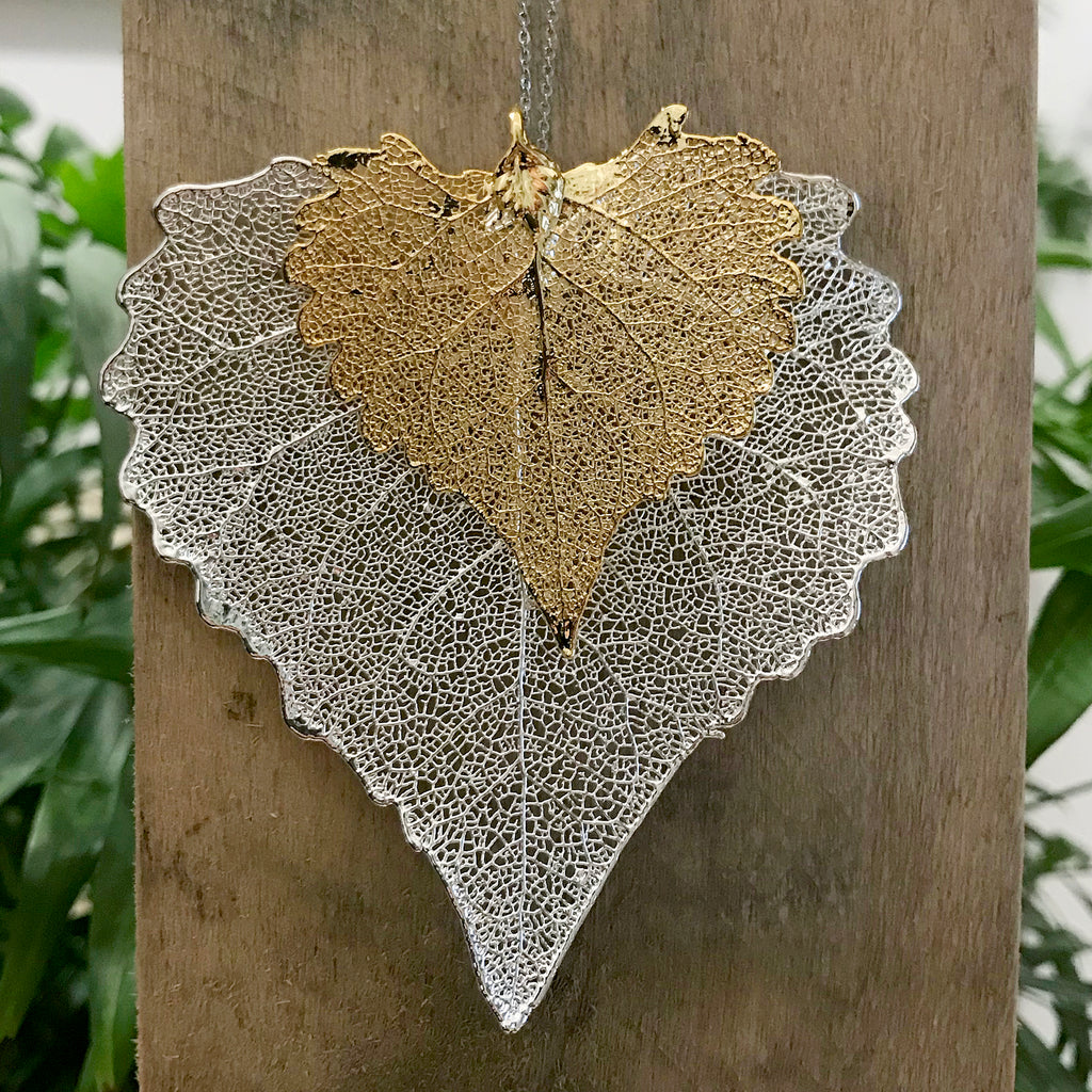 Cottonwood Gold Plate and Silver Plate Leaf Duo