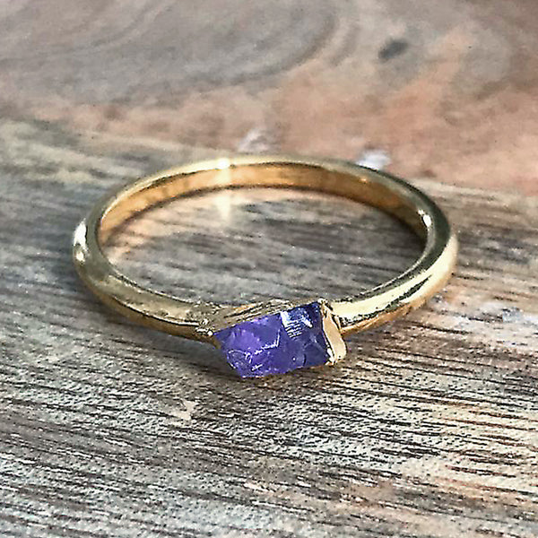Gold Plate Amethyst Stacking Ring, UK Q 1/2, US 8 1/2