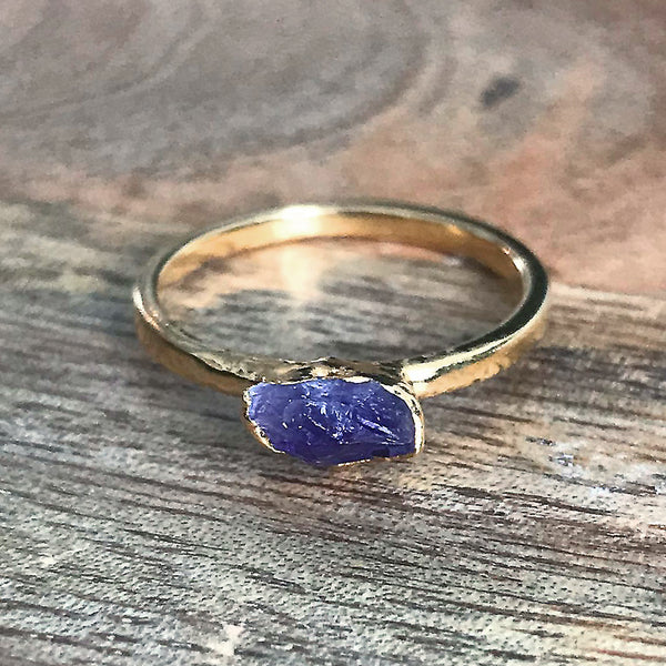 Gold Plate Amethyst Stacking Ring, UK L, US 5 1/2