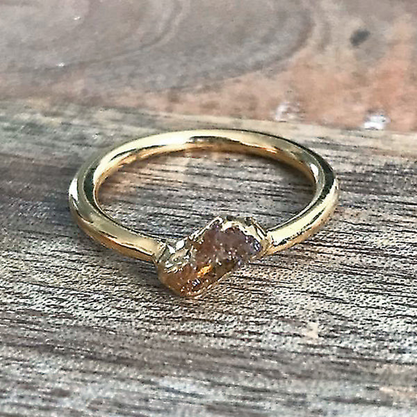 Gold Plate Citrine Stacking Ring UK L 1/2, US 6