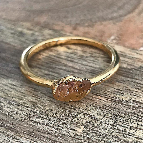 Gold Plate Citrine Stacking Ring UK O 1/2, US 7 1/2
