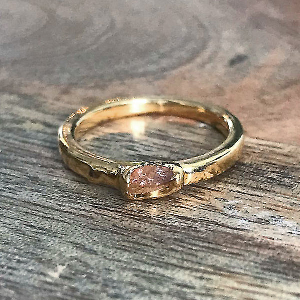 Gold Plate Citrine Stacking Ring, UK I, US 4