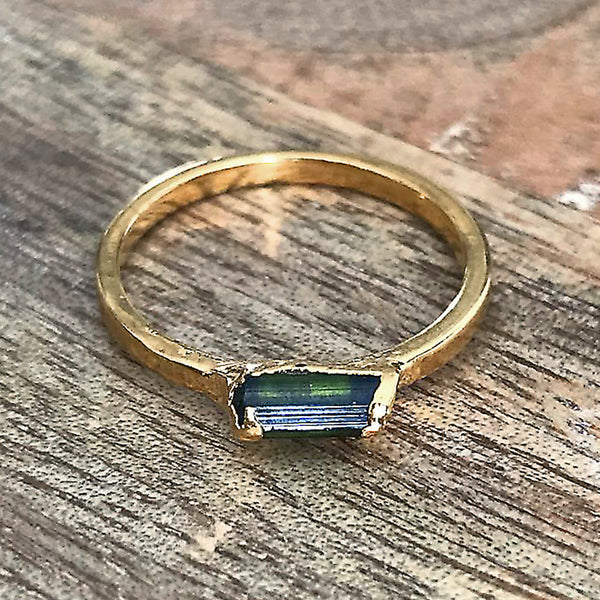 Gold Plate Emerald Stacking Ring, UK L, US 5 1/2