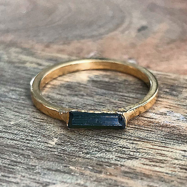 Gold Plate Emerald Stacking Ring, UK Q 1/2, US 8 1/2