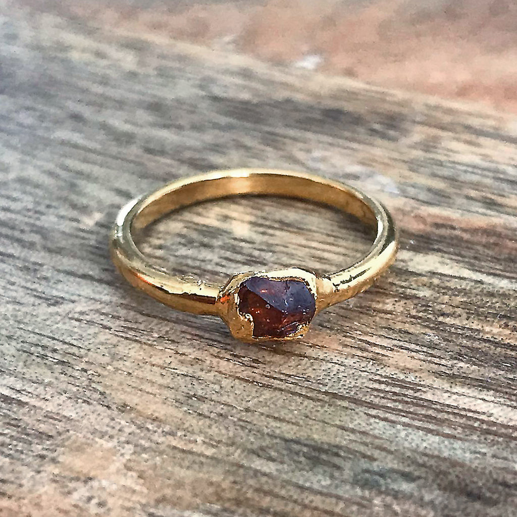 Gold Plate Garnet Stacking Ring, UK I 1/2, US 4 1/2