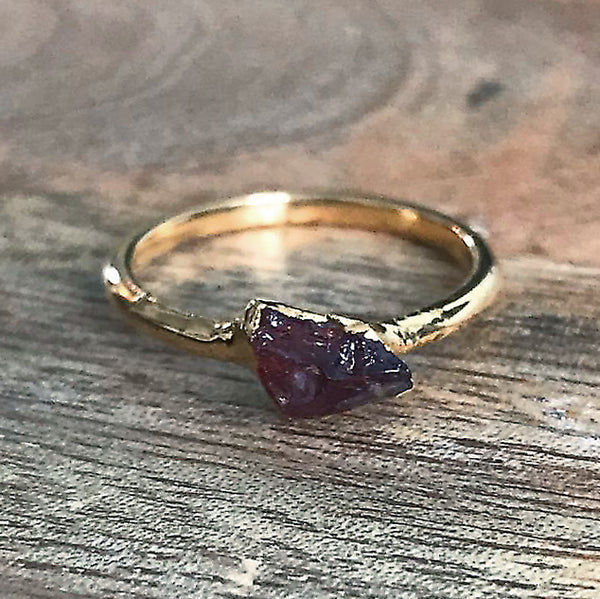 Gold Plate Garnet Stacking Ring, UK K 1/2, US 5 1/2