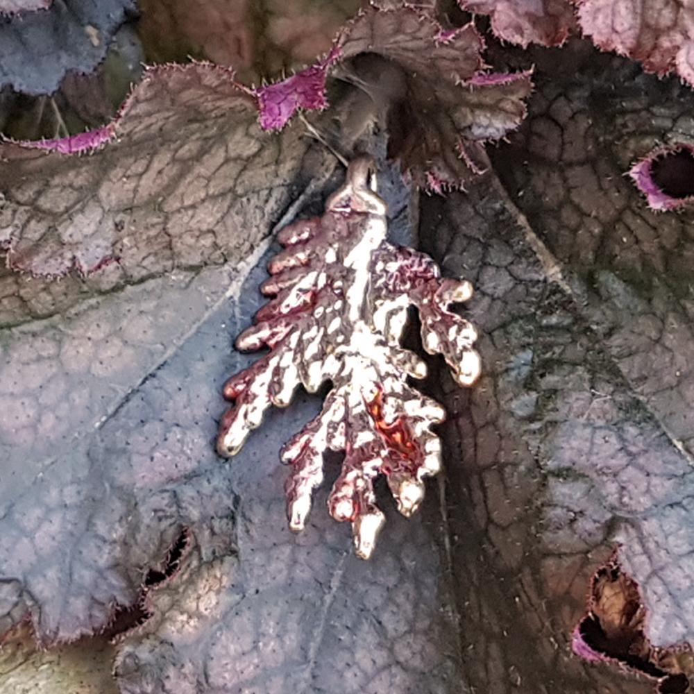 Cypress Autumn Copper Leaf Pendant