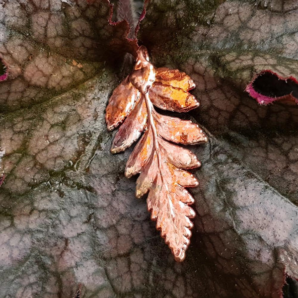 Fern Autumn Copper Leaf Pendant