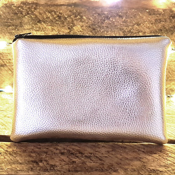 Silver faux leather clutch bag