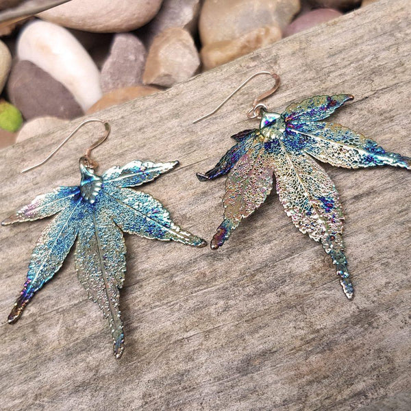 Japanese Maple Dark Rainbow Leaf Earrings