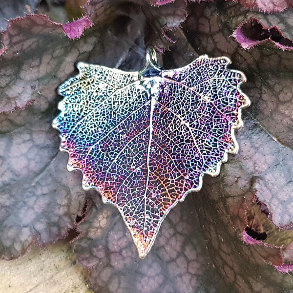 Cottonwood Dark Rainbow Leaf Pendant
