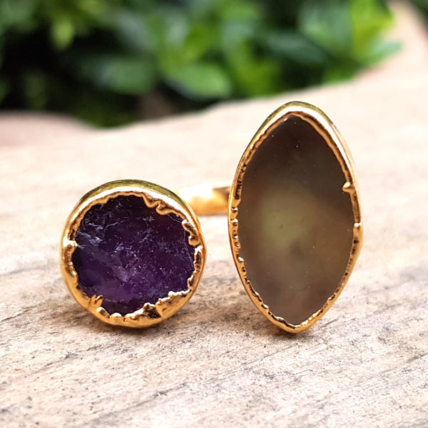 Gold plate Amethyst and Agate double ring, UK J-K