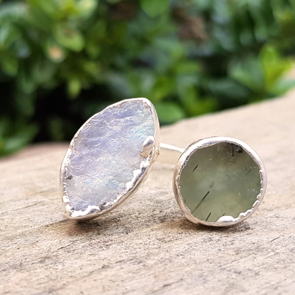 Sterling Silver plate green Agate and Moonstone double ring, Size N