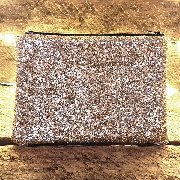 Glitter gold clutch bag