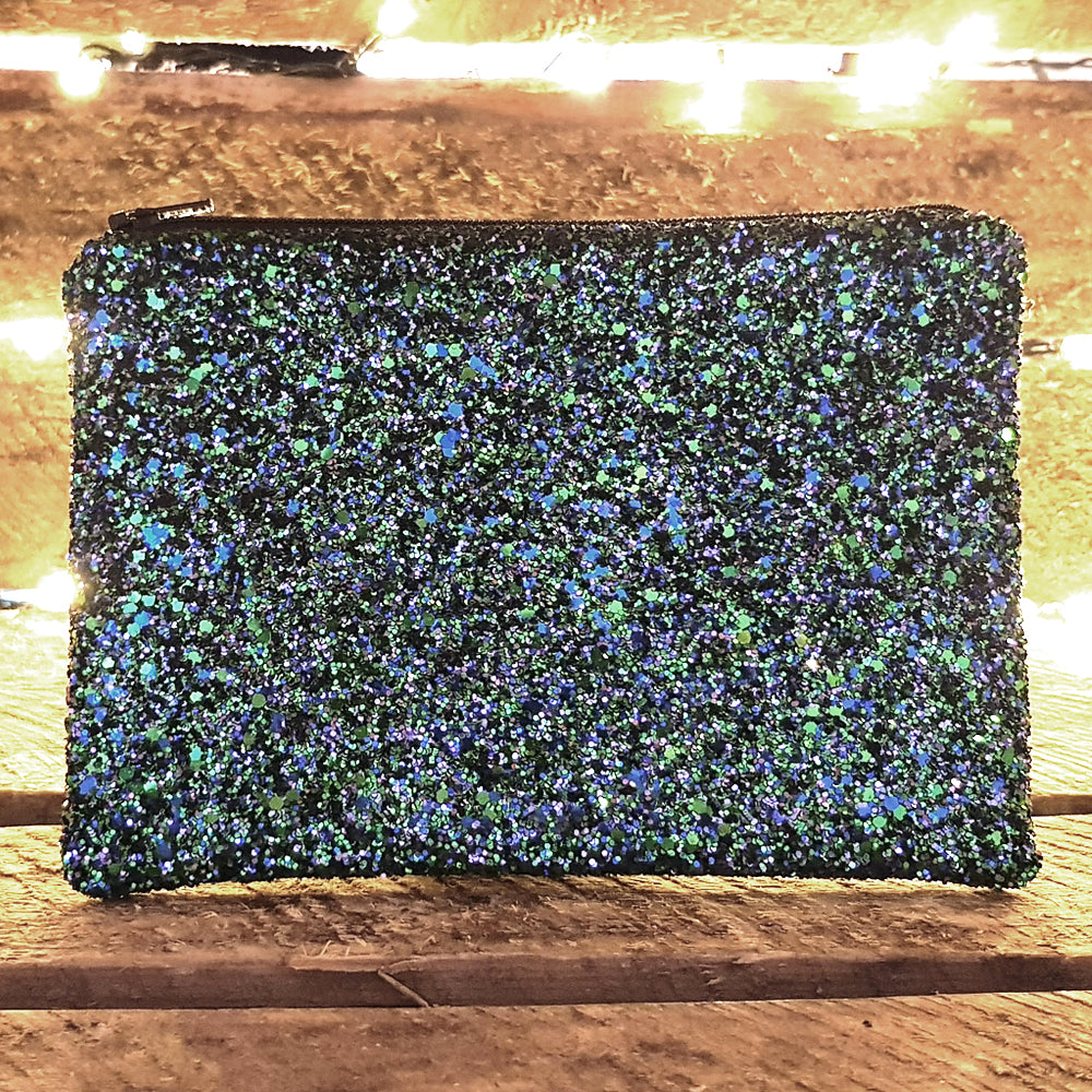 Glitter peacock clutch bag
