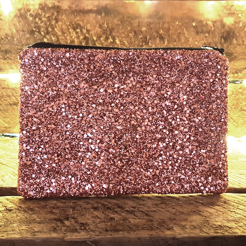 Glitter rose gold clutch bag