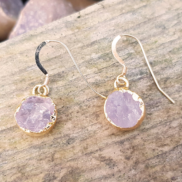 Gold plate rose quartz circular earrings