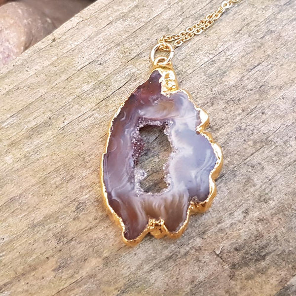 Gold Plate Agate Geode Pendant