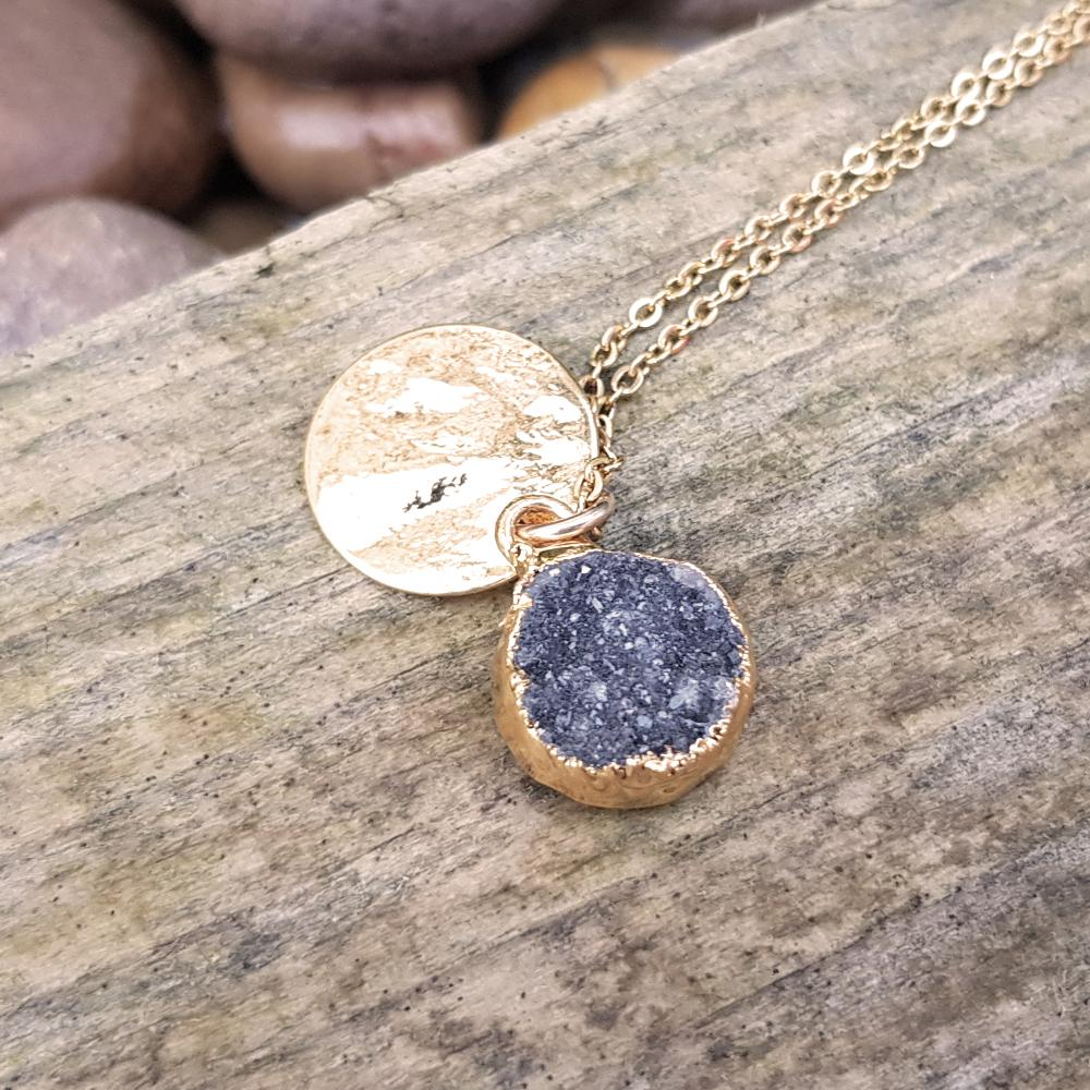 Gold plate dark grey Druzy pendant