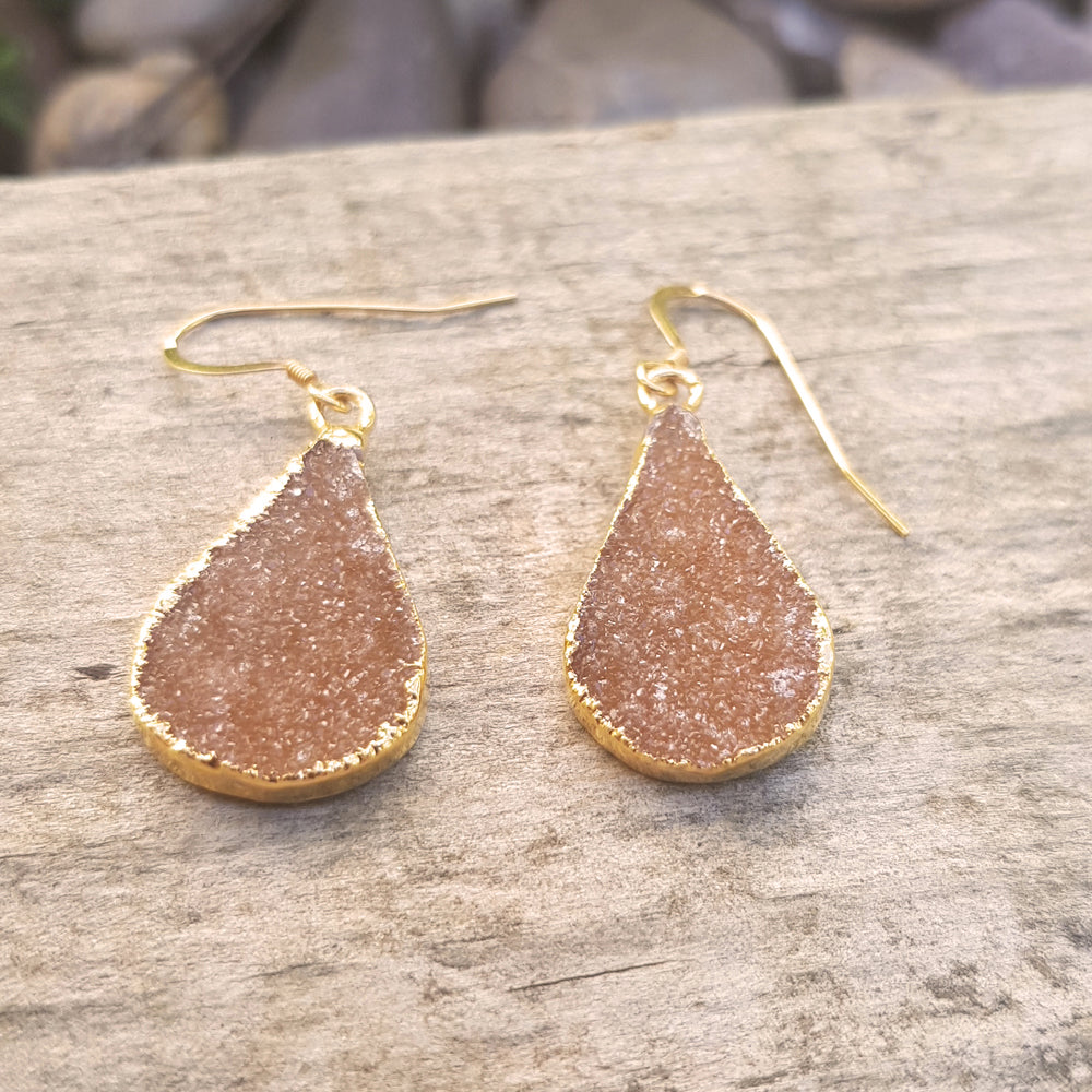 Gold plate Citrine Druzy teardrop shape earrings