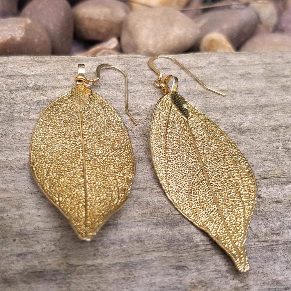 Magnolia Gold Plate Leaf Earrings