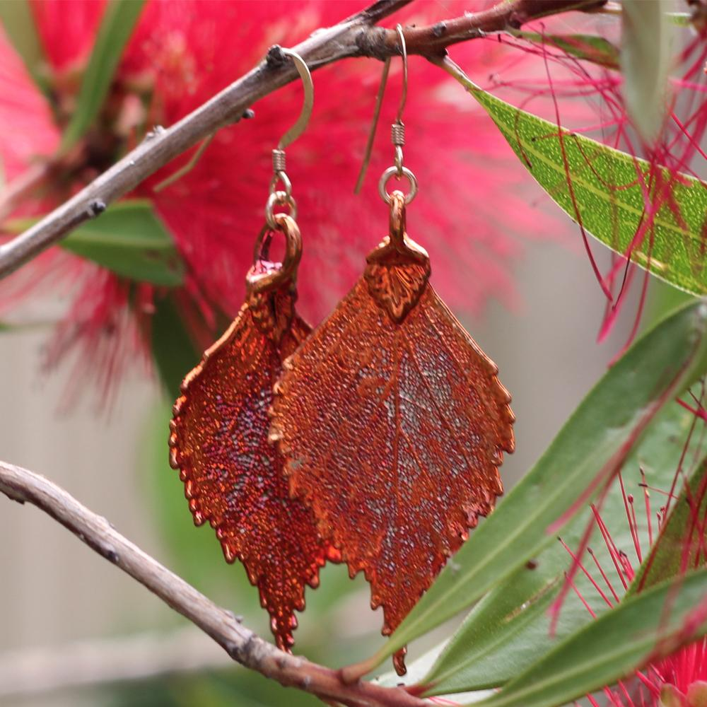 Birch Autumn Copper Leaf Earrings