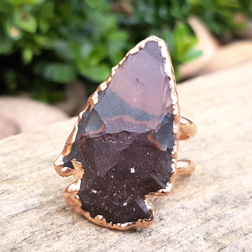 Rose gold plate adjustable Jasper arrowhead ring, Size O-P