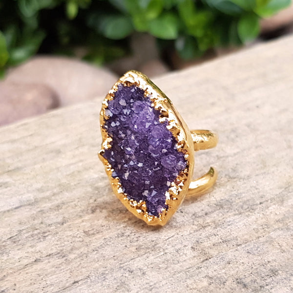 Gold plate adjustable Amethyst ring, Size M - N