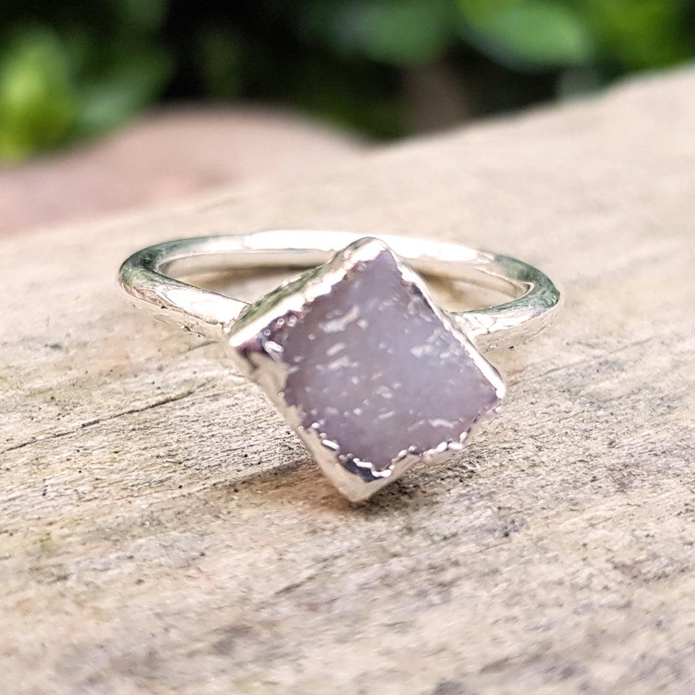 Sterling silver plate, Quartz Druzy diamond shaped stacking ring, Size M